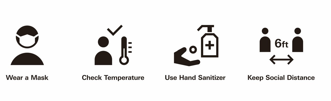 Wear a Mask, Check Temperature, Use Hand Sanitizer, Keep Social Distance